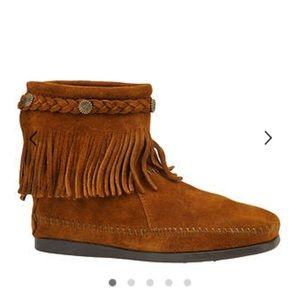 Minnetonka Hi Crop suede leather boots zip sz 7